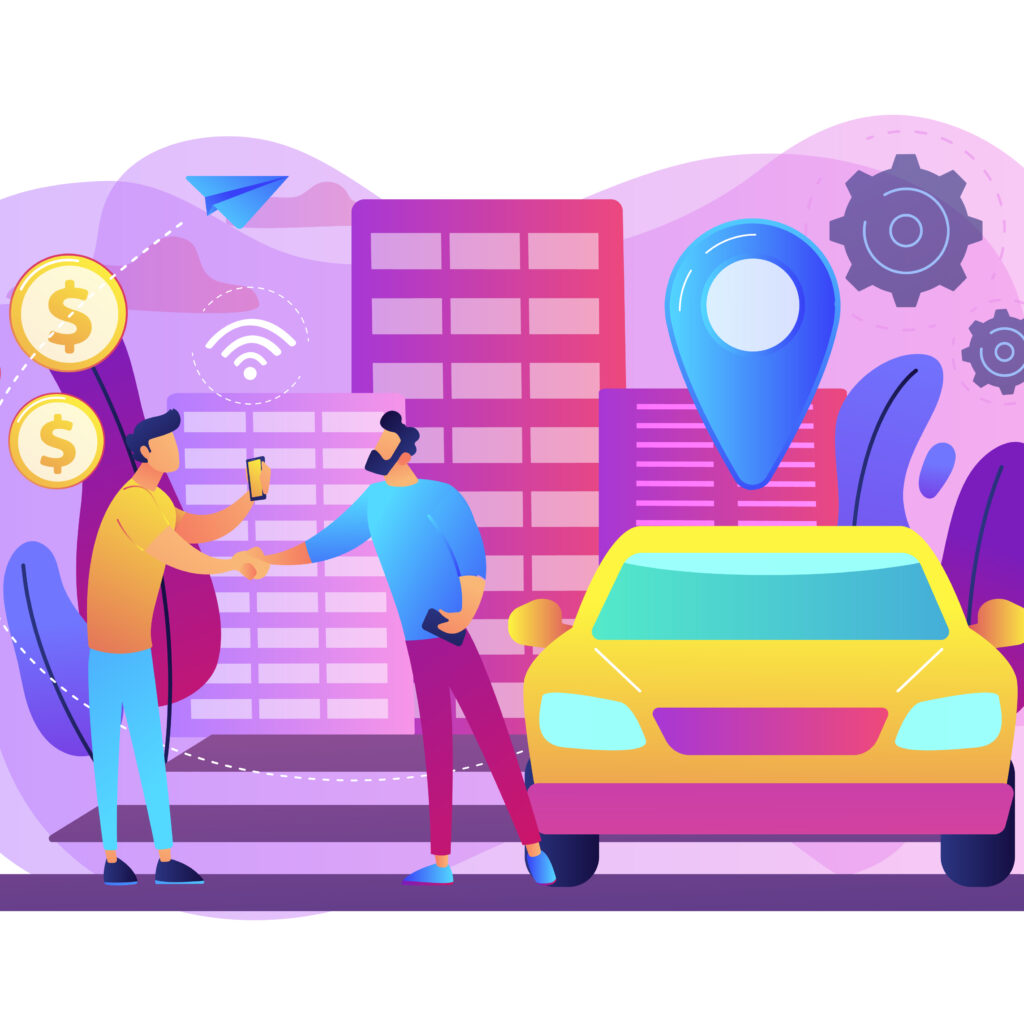 Businessman with smartphone rents a car in the street via carsharing service. Carsharing service, short periods rent, best taxi alternative concept. Bright vibrant violet vector isolated illustration